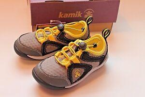Kamik Kids Speedy Yellow & Gray Shoes Toddler Boy Size 8 Slip-On Shoe NEW
