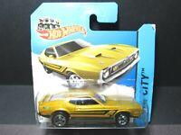 "BAD CARD"" GOLD 1971 FORD MUSTANG MACH 1 SHORT CARD HOT WHEELS 1/64 DIECAST CAR"