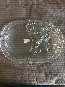 """Mikasa Crystal Holiday Christmas Bells Oblong Serving Plate 10 1/4"""" x 7"""""""