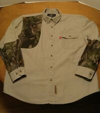 Winchester Shooting Shirt Mens Large Tan Camo  Cotton Button Front Long Sleeve