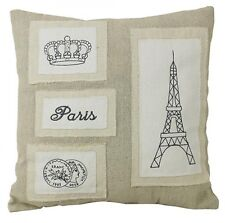 Cushion Pillow French Provincial Chic Linen with embroidered Paris Eiffel Tower