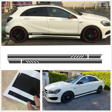 Pair DIY Car Side Stripes Skirt Decals Stickers Gloss Black Can Be Self-Cutting