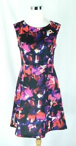 EUC Cynthia Rowley Scuba Stretch Fit n Flare Floral Dress Sz 4 Lined Top PERFECT