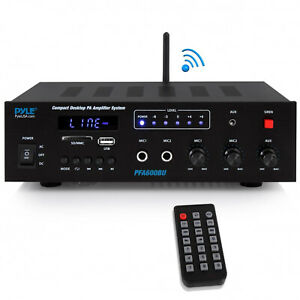 Pyle PFA600BU 300 Watts 2-Channel Compact Bluetooth Public Address Amplifier