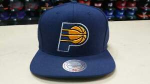 Mitchell & Ness NBA Indiana Pacers Team Logo Solid Navy Snapback Cap Hat