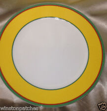 """VILLEROY & BOCH TIPO VIVA YELLOW DINNER PLATE 10 1/2"""" YELLOW BAND GREEN RED LINE"""