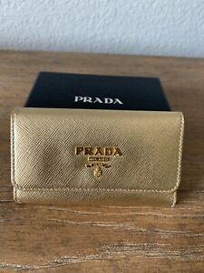 PRADA key holder wallet Saffiano  METAL Gold Platino leather