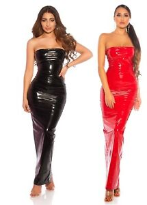 Koucla Kleid Bandeau Wetlook Lederlook Lack Optik Long Dress