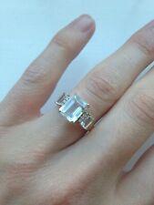 Aquamarine + Diamond Ring - Size UK O - 10 Carat Gold