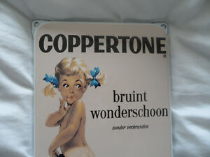 COPPERTONE - Sun Protection Cream - Plaque Emaillee Porcelain Enamel Sign