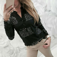 Women's V Neck Ladies Letters Print Long Sleeve Loose Button T Shirt Tops Blouse