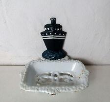 ancien porte savon en fonte émaillée paquebot