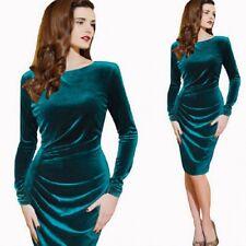Ladies Turquoise Velvet Side Ruche Sheath Longsleeve Party Evening Womens Dress