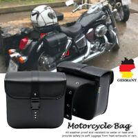 2x Motorrad Satteltaschen Gepäcktaschen Werkzeugtasche Seiten Koffer PU Schwarz