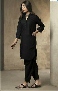 Ladies Plain Black Salwar Kameez kurta Salwar Women Suit Eid Dress Stitch