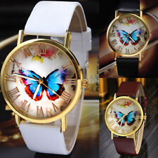 Pretty Womens Vogue Butterfly Watch Leather Strap Analog Quartz Wrist Watch Gift