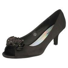 Ladies Spot on Court Shoes F10057 - D Black Satin 6 UK Standard