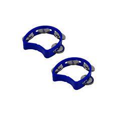 2 pièces plastique bleu tambourins Demi Fleur Petit percussion à main pour