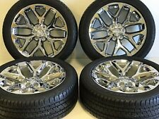 "22"" OEM FACTORY CHROME CADILLAC CHEVY SILVERADO GMC SIERRA WHEELS RIMS TIRES TPM"