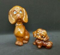 Vintage Mama Dog and Puppy Brown Redware, Set
