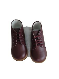 Josmo Walkers 7 Burgundy Red Lace Up Leather Toddler Shoes Boots New