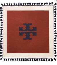 NWT, TORY BURCH Logo Oversized Brown Square Fringe Scarf Merino Wool, MSRP $275
