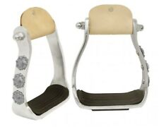 Showman Light Polished Aluminum Stirrups With Engraved Conchos! NEW HORSE TACK!