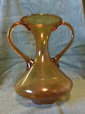 "Vintage AMBER GLASS Bohemian 10"" VASE - CARAFE - WATER POT - Bottle JAR"