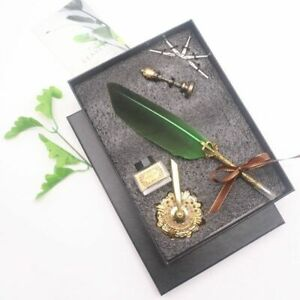 New Natural Dipped Feather Steel Pen Calligraphy Stationery Office Set Exquisite