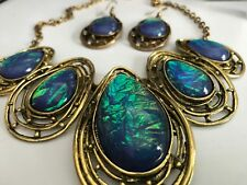 NEW Necklace & Earrings - Costa Rica - Blue, Green, Turquoise Glass wi Bronze