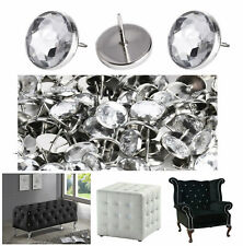 22mm Diamante Crystal Glass Buttons Nail Back Upholstery Headboard Sofa Chair