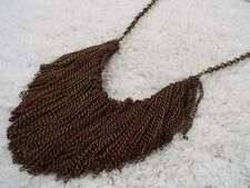 Brasstone Coppertone Fringe Scoop Necklace (B19)