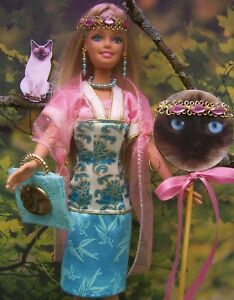 """Barbie """"The Girl Who Loved Siamese Cats"""" Kimono Dress OOAK Accessories"""