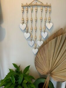 Decorative TIMBER hearts hanging. Blue. 30cm. Hand-crafted.  BOHO COASTAL.