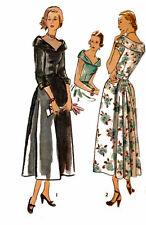 "VINTAGE 1940s Sewing Pattern SOPHIA LOREN laminato Collare Abito WW2 RARO B 32"""