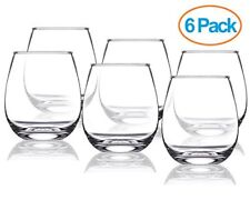 Chef's Star 15 Ounce Stemless Wine Glasses Set Ideal for All Occasions 6 Pack