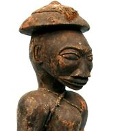 Arte Africano - Antico Due Punti Senoufo IN Legno Denso - Moneta' Adorazione -