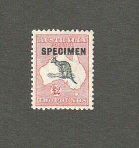 "Australian Kangaroo  £2 Rare - MINT ""SPECIMEN"" - C of A wmk"
