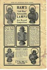 1908 Ham's Automobile Lamps Headlights Ad/ C F Ham Mfg Co/Rochester Ny
