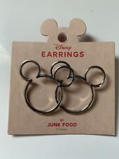 New Disney Mickey Mouse Silver Icon earrings with tags ! Junk Food