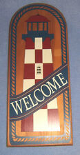 "Red White Blue LIGHTHOUSE ""WELCOME"" sign plaque wood wall-hanging Nautical"