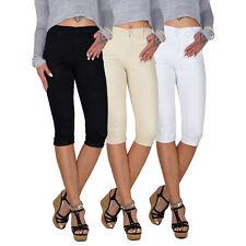 Damen Stretch High Waist 3/4 Capri 7/8 Röhren Jeans Hose Röhre Übergröße E119