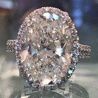 Luxury Oval White Sapphire 925 Silver Promise Ring Wedding Jewelry Gift Size6-10