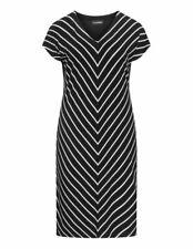 DORIS STREICH DRESS SIZE 12-14 GER 38 STRETCH JERSEY STYLE FABRIC BLACK & WHITE