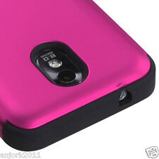 Samsung Galaxy S2 4G Sprint Boost T Armor Hybrid Case Skin Cover Hot Pink Black