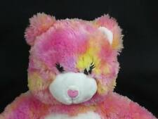 BIG BUILD A BEAR YELLOW PINK TIME CAN BE TIE-DYED PLUSH STUFFED ANIMAL TOY