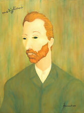MODIGLIANI RARE PORTRAIT OF VINCENT VAN GOGH UNIQUE ORIGINAL OIL PAINTING SIGNED