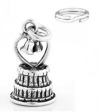 STERLING SILVER WEDDING CAKE CHARM WITH SPLIT RING