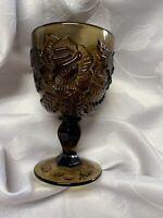"Fenton / L.G. Wright Madonna Inn Wild Rose Goblet Brown 5"" Glass Wine Water"