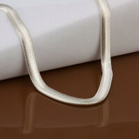 "925 Silver 6MM Snake Chain Men Women Necklace 16-24"" Wedding Jewelry Gifts UK"